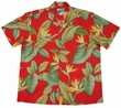 ORIGINAL HAWAIIHEMD - AIRBRUSH BIRD OF PARADISE - ROT - WAIMEA CASUAL